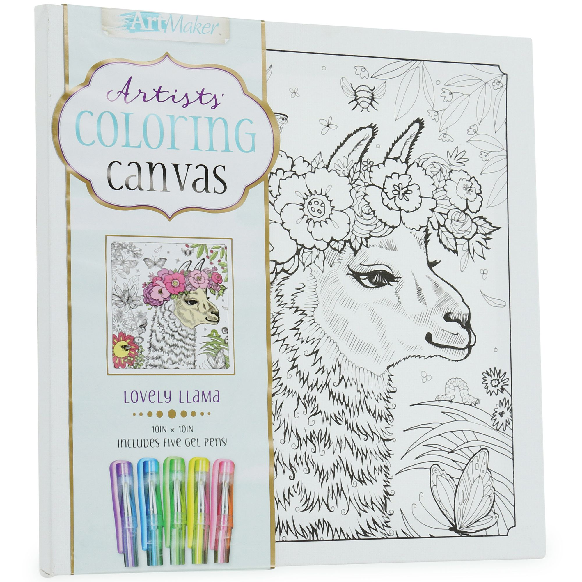 Artists Coloring Canvas With 5 Gel Pens 10in X 10in Five Below In 2020 Coloring Canvas Gel Pens Artist