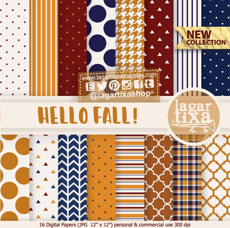 Hello Autumn, Fall, Digital paper, Patterns, autumn, fall, patterns, stripes, polka dots, planner ideas, backgrounds, bordeaux, navy blue #helloautumn