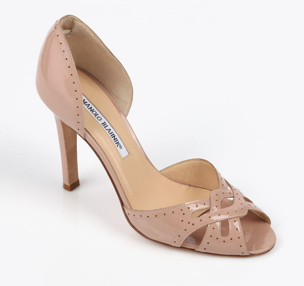 cheap sale shop for Manolo Blahnik Patent Leather Peep-Toe Mules finishline cheap online pictures online xplg8