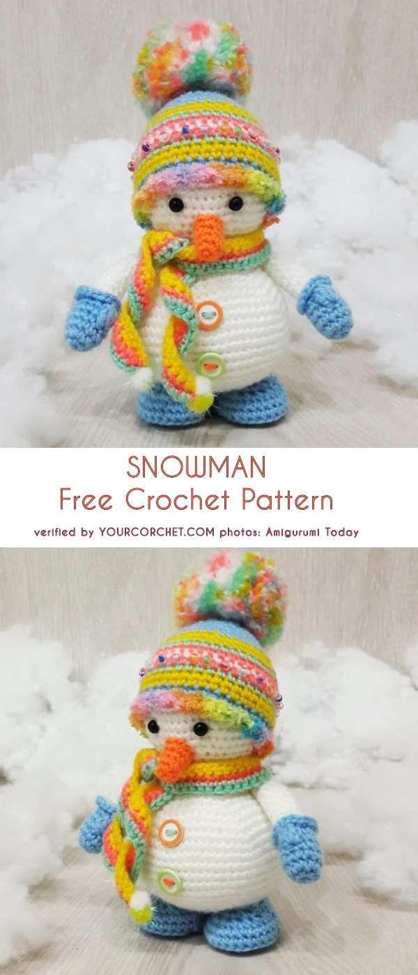 Snowman Free Crochet Pattern #crochetbearpatterns