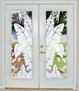 Tropical Transformation For Glass Doors Wallpaper For Windows Etched Glass Vinyl Window Film Tropical Design