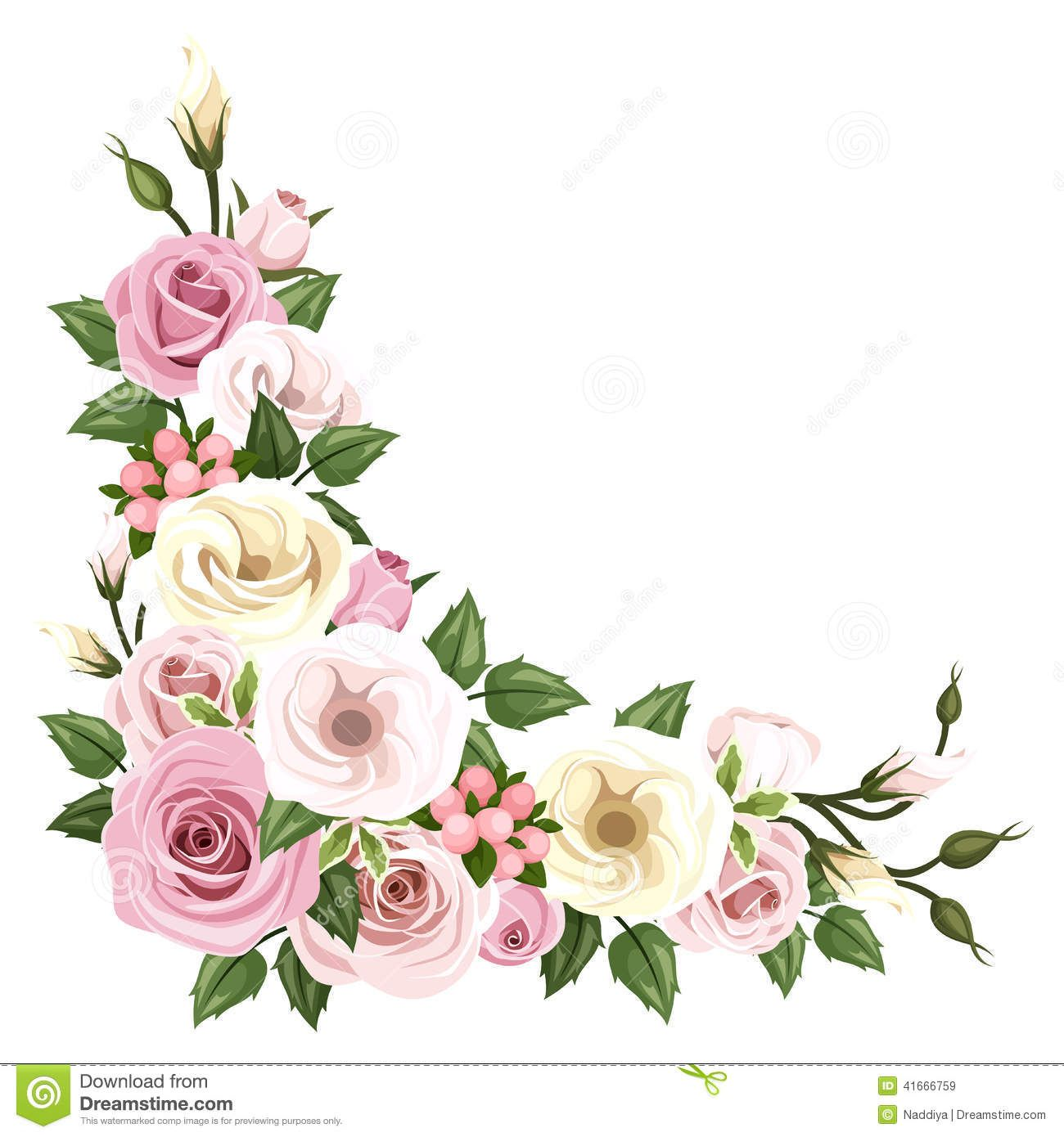 Vector Corner Background With Pink And White Roses And Lisianthus