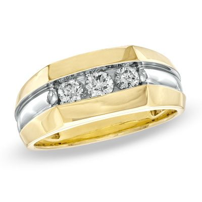 Men's+1/4+CT.+T.W.+Diamond+Three+Stone+Band+in+14K+Gold