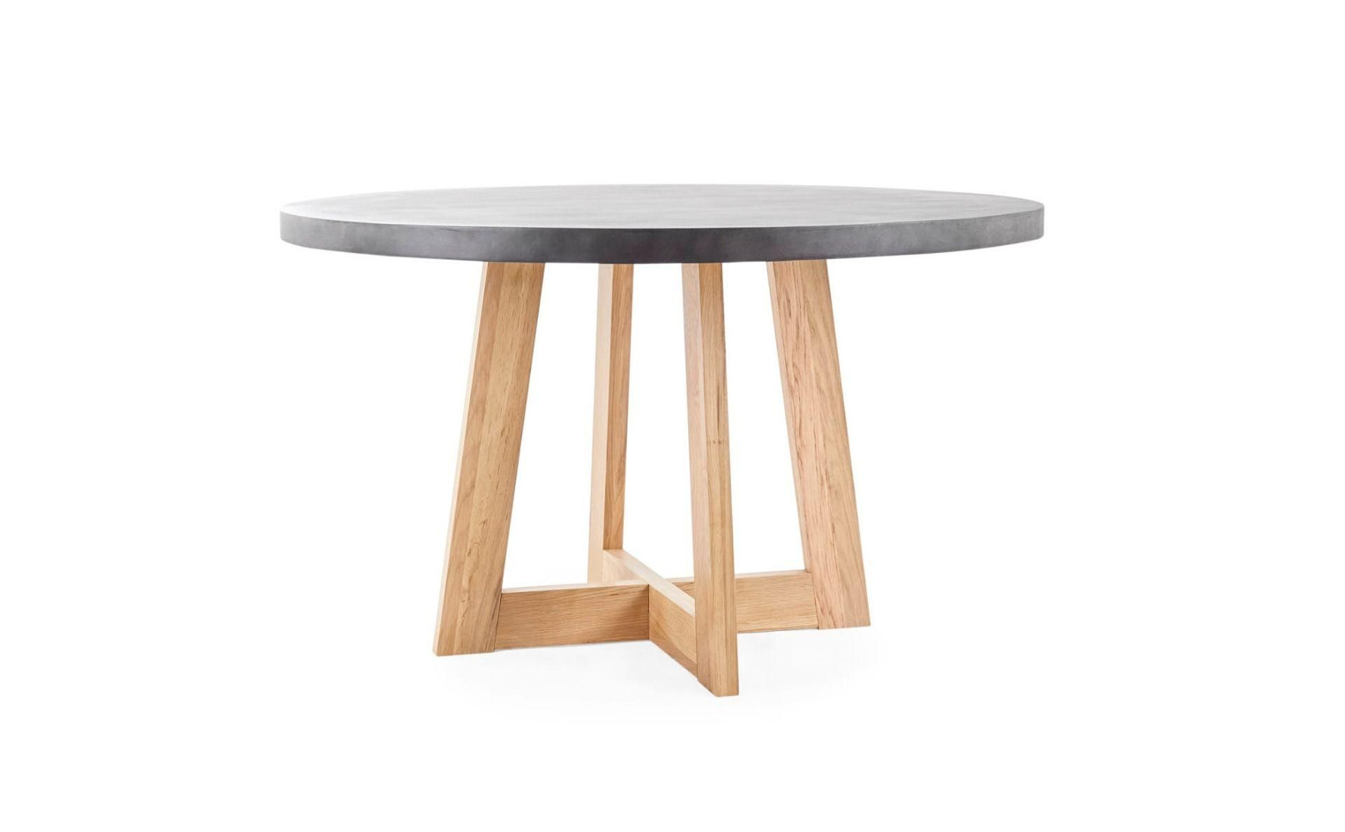 Round Concrete Dining Table With Natural Oak Legs Lounge Lovers