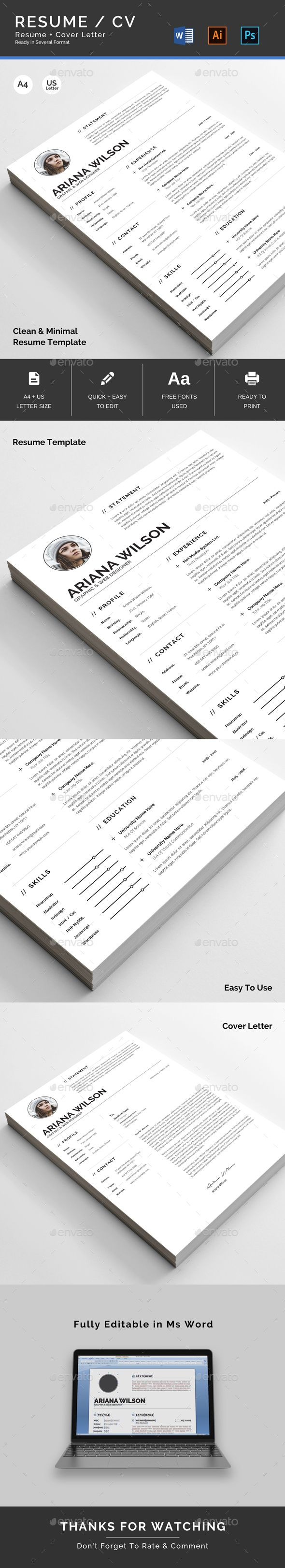 Clean Resume  Template Resume Cv And Cv Template