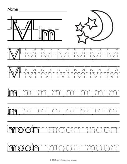 Free Printable Tracing Letter M Worksheet | Tracing Worksheets ...