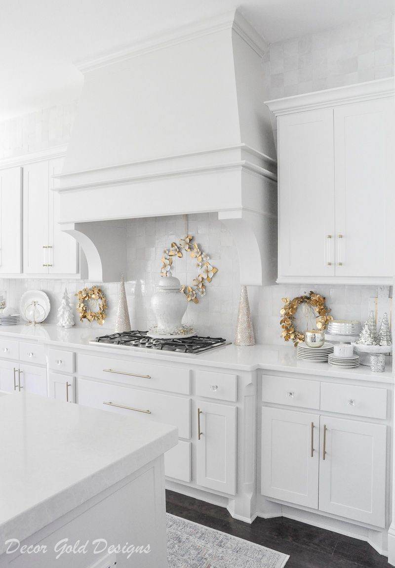 Bright White Christmas Kitchen