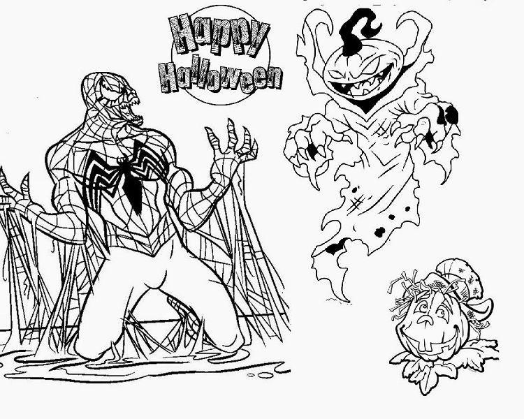 Spiderman Halloween Coloring Page Gambar