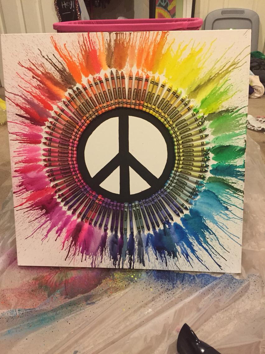 Diy Peace Sign Melted Crayon Art Crayon Art Crayo