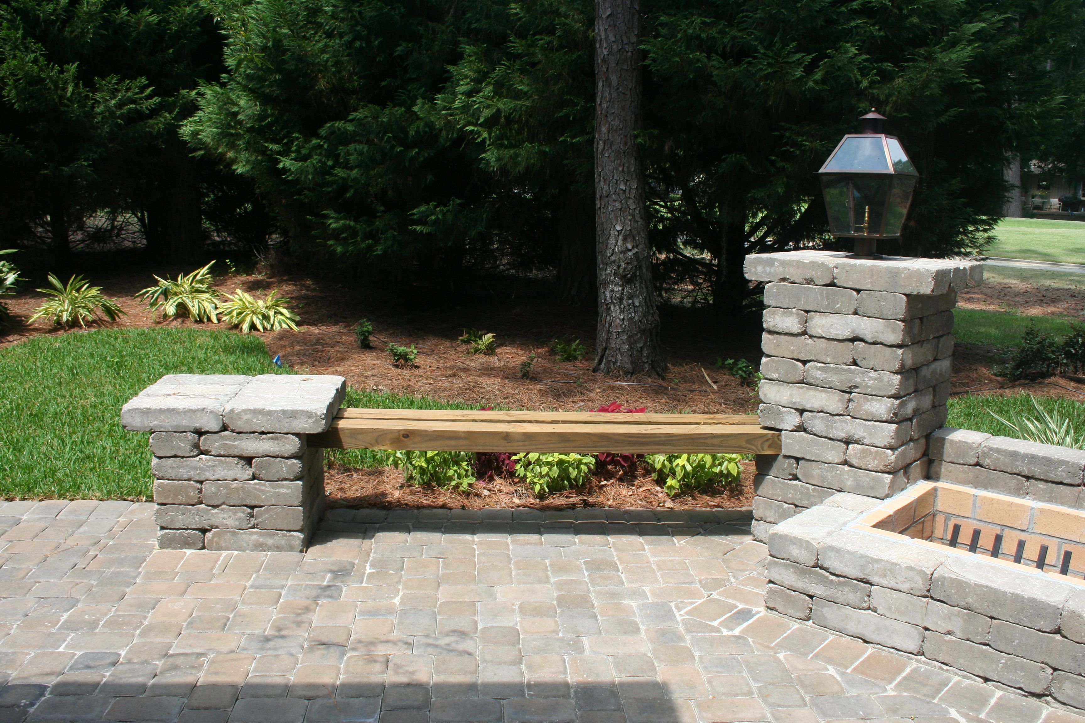 Pleasing Paver Columns With Wood Benches In 2019 Fire Pit Patio Pabps2019 Chair Design Images Pabps2019Com