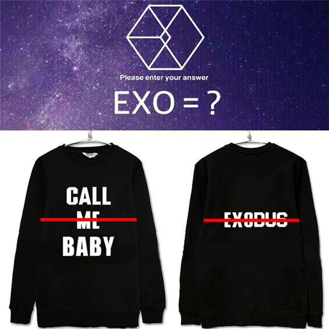 KPOP EXO Call Me Baby Hoodie Hoody Sweater Unisex Pullover Sweatershirts Sehun