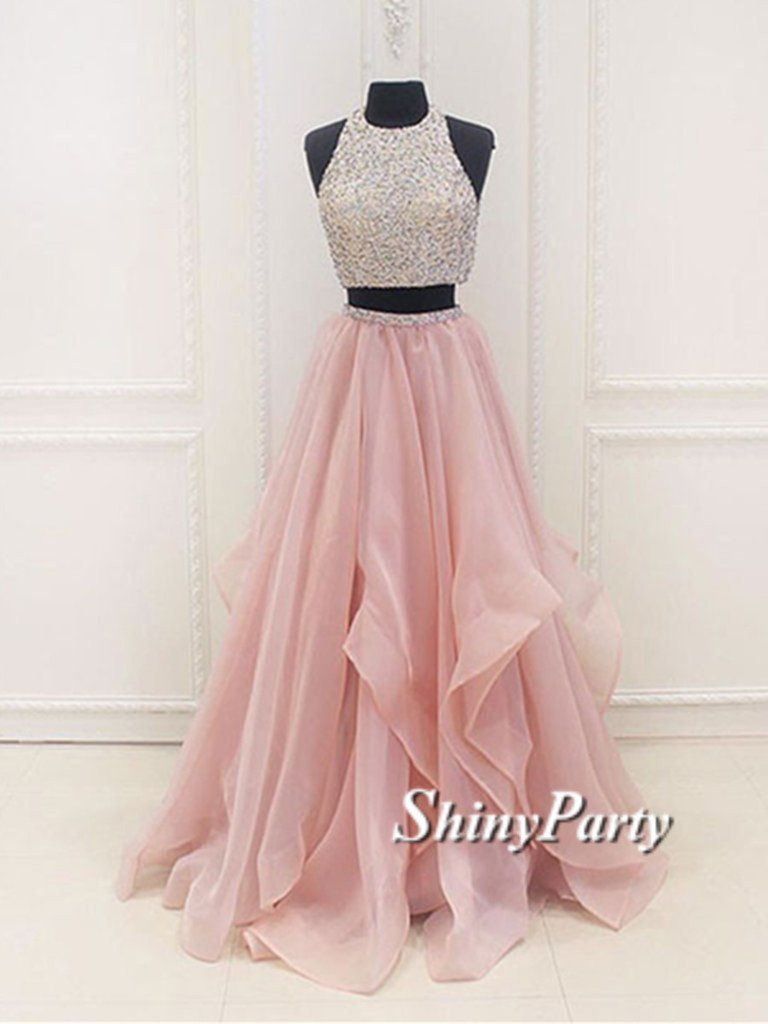 Round Neck Two Pieces Pink Prom Dresses Two Pieces Pink Formal Dresses Evening Dresses Piece Prom Dress Prom Dresses For Teens Cute Prom Dresses [ 1024 x 768 Pixel ]