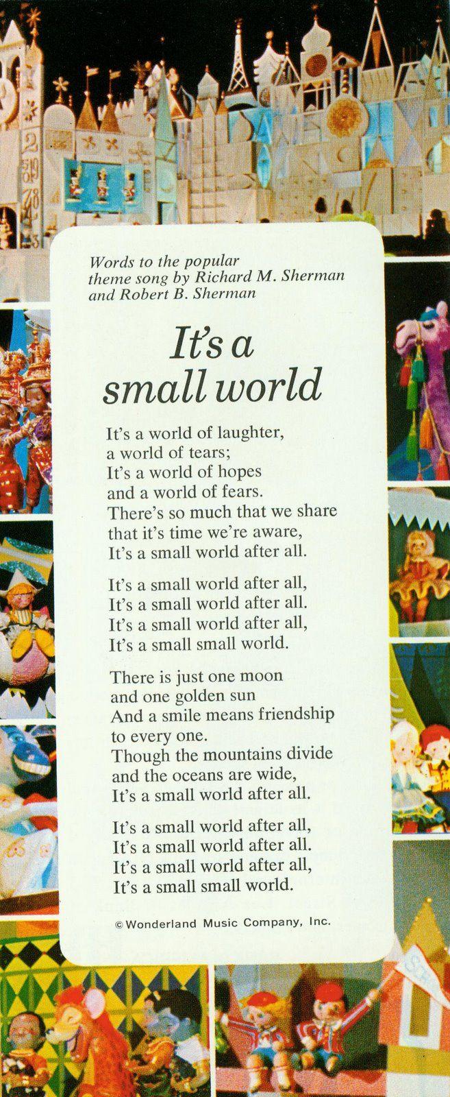 It's A Small World   Disney songs, Disney facts, Disney dream