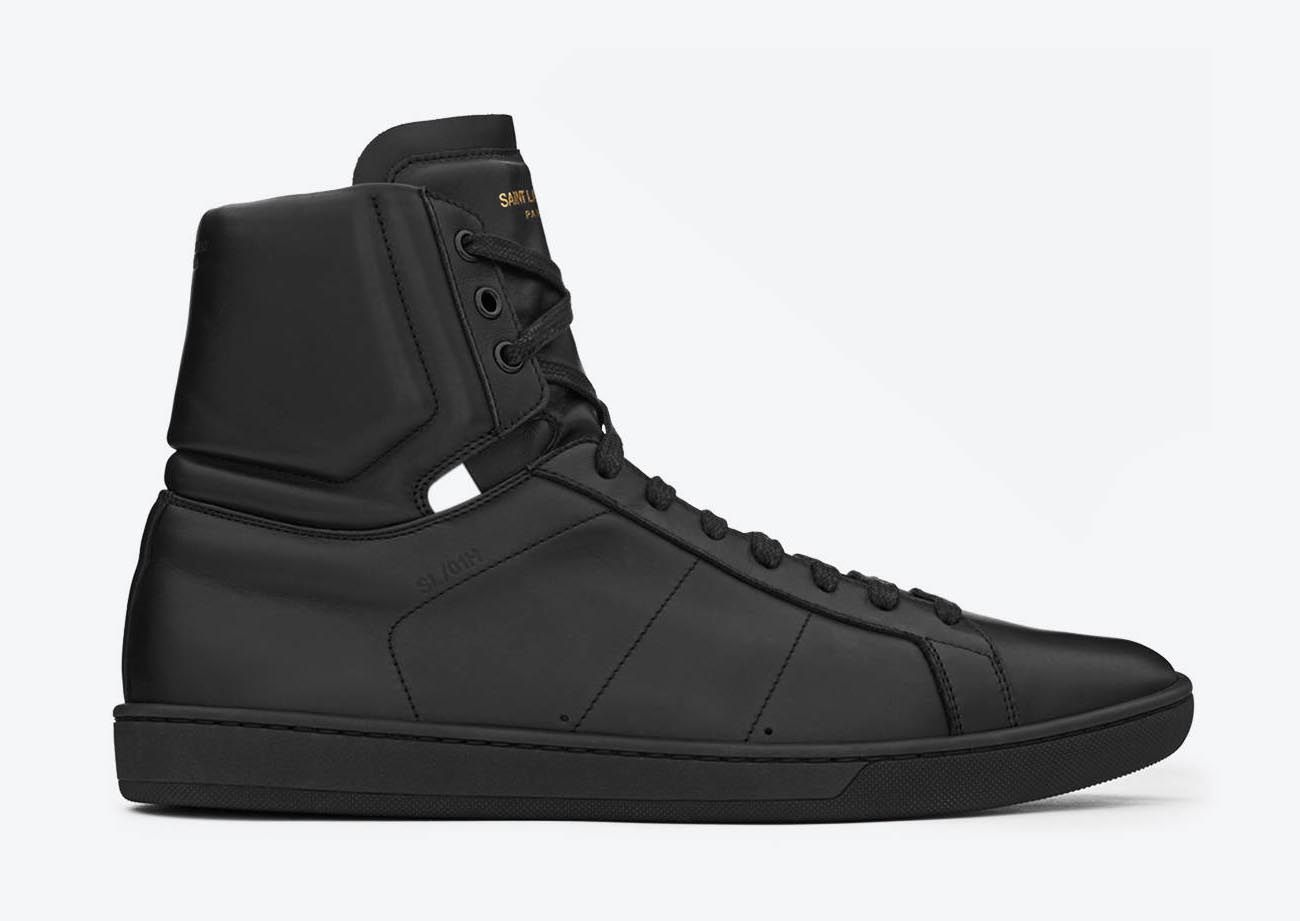 yves laurent classic leather sneakers black and