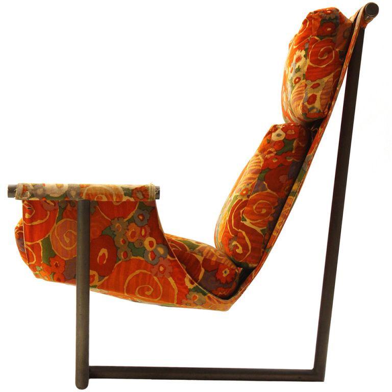 Sling Chair By Harvey Probber In Original Jack Lenor Larsen Fabric Ca.1960u0027s