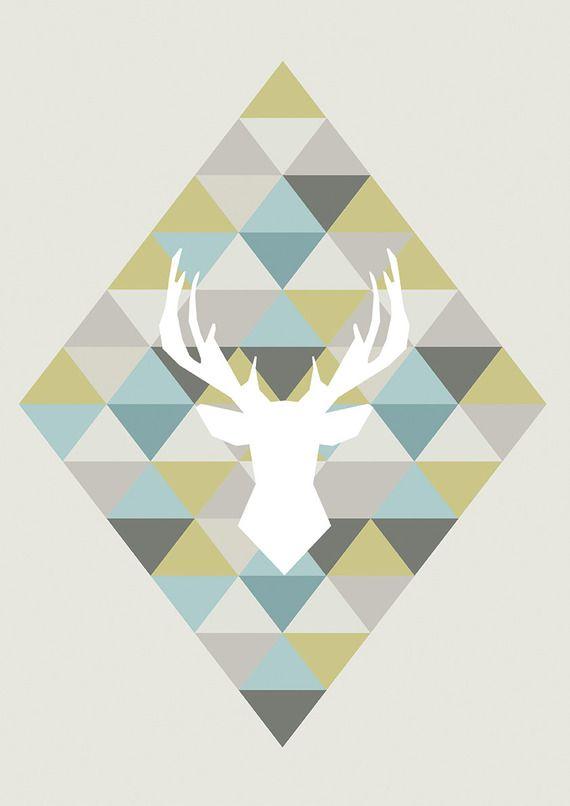 affiche scandinave pastel cerf origami d coration int rieure illustration vectorielle. Black Bedroom Furniture Sets. Home Design Ideas