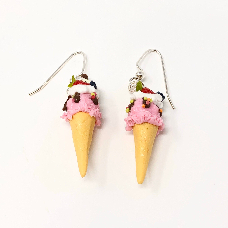 Kawaii Kitsch Icecream Cone Earrings