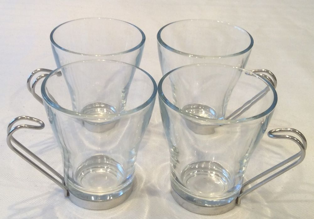 1535b254b36 Details about Set of 4 Vitrosax Coffee Espresso Glass Cups Stainless ...