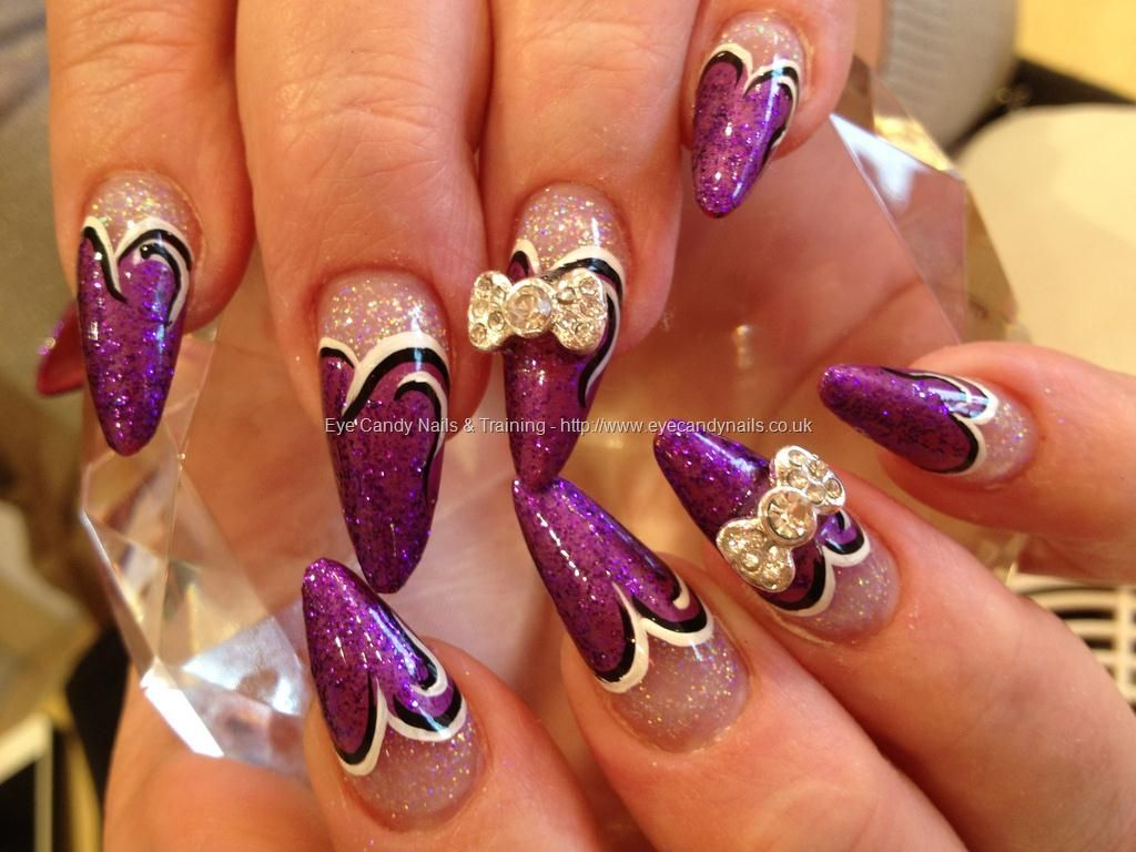 b>nail</b> art with crystal bows on acrylic <b>stiletto nails</b ...