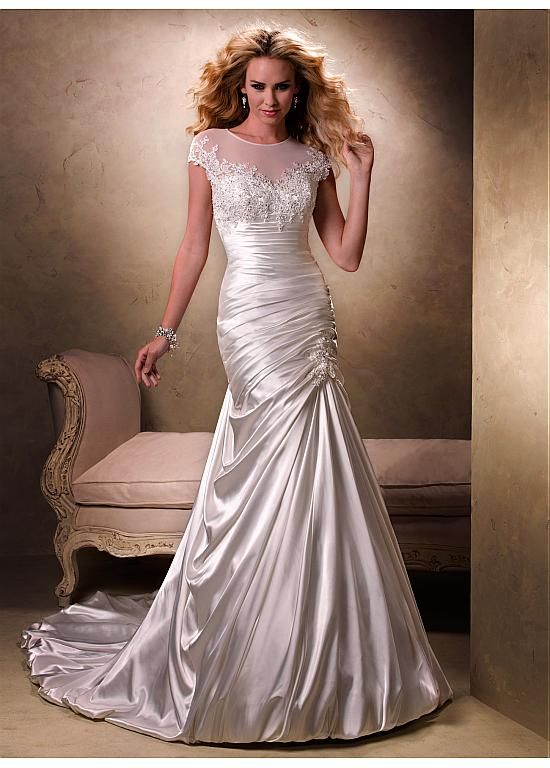 96c6d70ae07 Stretch Satin   Tulle Jewel Neckline Trumpet Wedding Dress With Beaded Lace  Appliques at Dressilyme.com  259.99