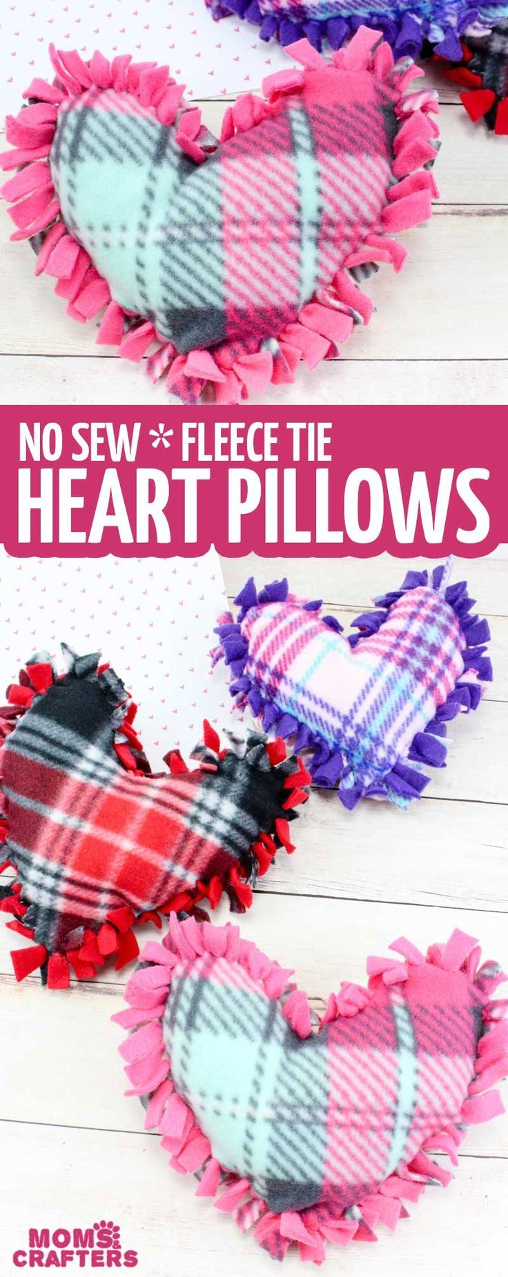Valentine Pillows - No Sew Fleece Tie Heart Pillows #craftsforkids