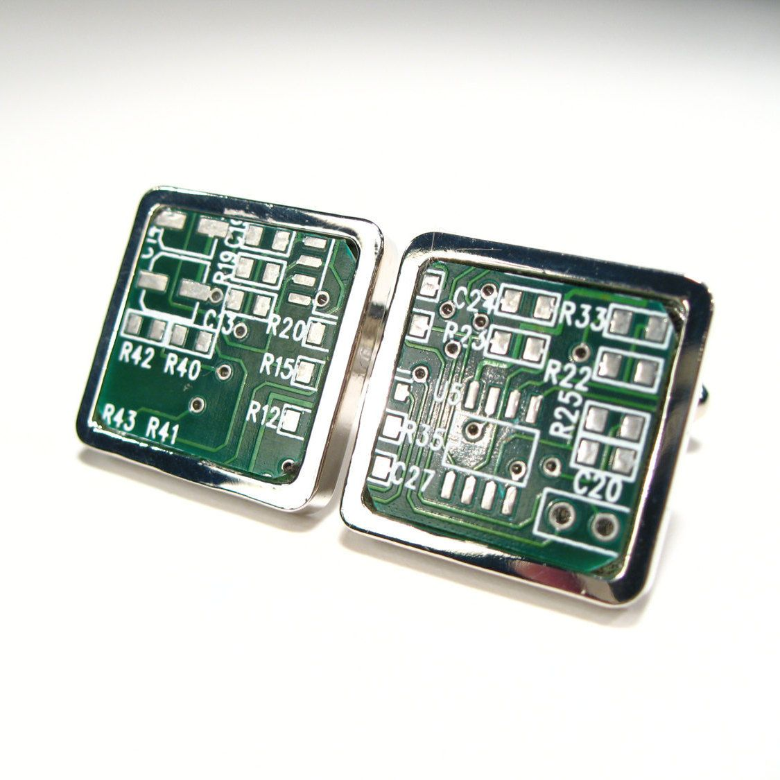 Circuit Board Cufflinks Unique Handmade Gift Mens Green Computer With Electronics Components And Square Geek Jewelry Chip Electronic Pcb Accessory Eco Recycled Motherboard By Electrickeryshop