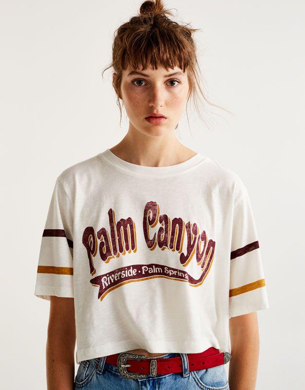 talla 40 74334 4c61f Camiseta texto palm canyon - Camisetas - Ropa - Mujer ...