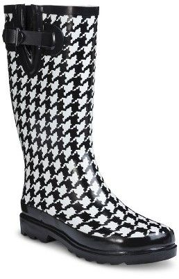 Washington Shoe Company Woman's Houndstooth Rain Boots - Black ...