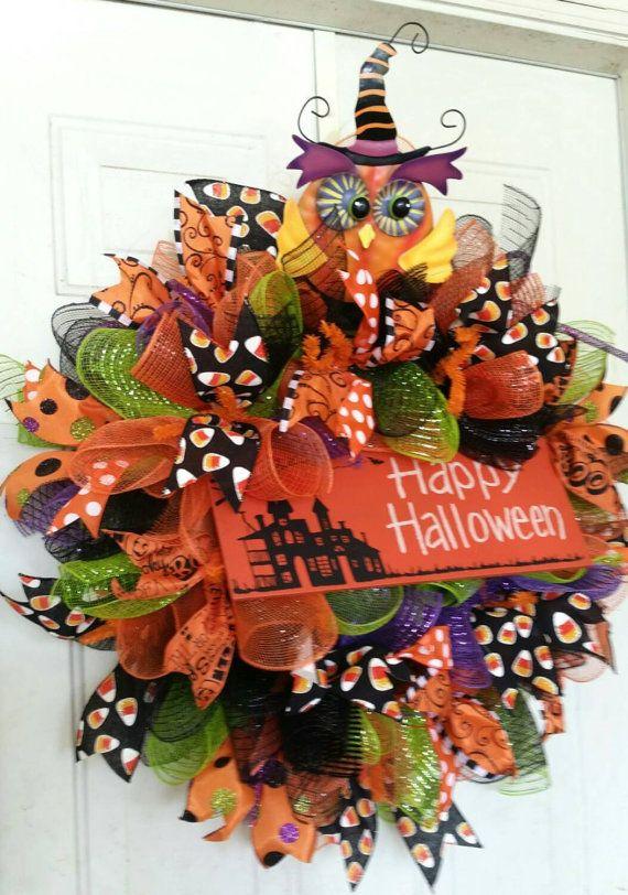 Happy Halloween Wreath-Halloween decor-Owl by WreathsbyDesign
