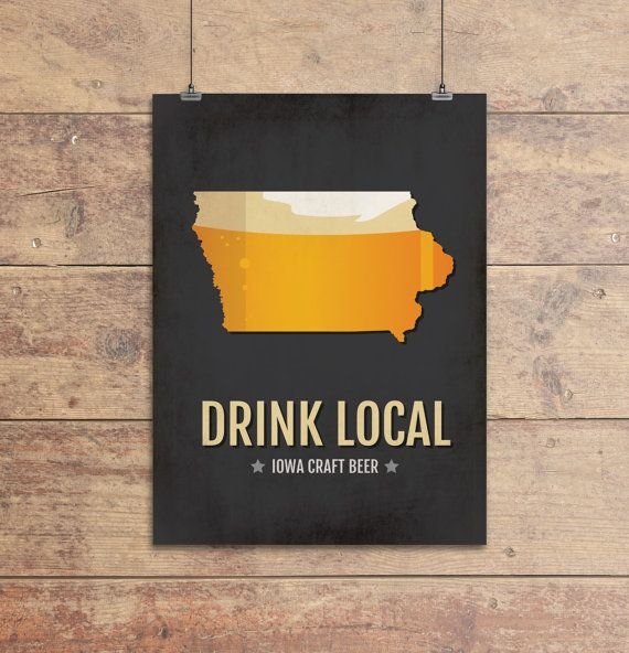 Iowa Beer Print Map Ia Drink Local Craft Beer Sign