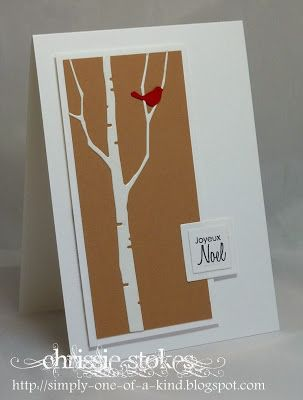 """handmade Christmas card ... """"Less is More"""" ... white and kraft with a pop of red ... luv the Memory Box birch tree die ... little red punched out bird ... great card!!"""