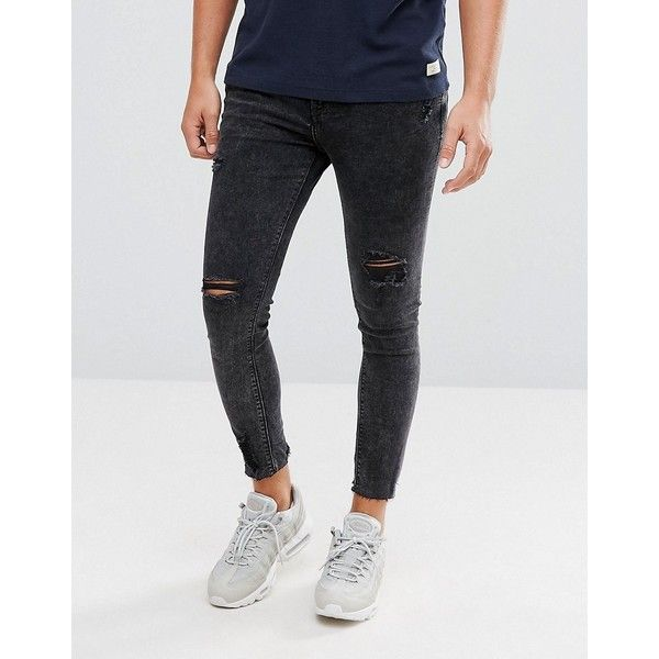 Pull Bear Super Skinny Cropped Jeans With Rips In Washed Black