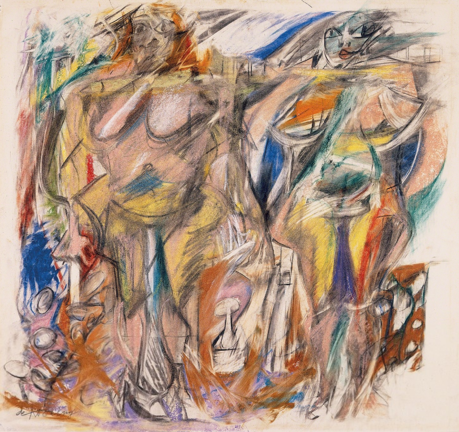 :Willem de Kooning (Dutch-American, 1904-1997), Two Women with Still Life, 1952. Pastel, charcoal on paper, 56.5 x 47.6 c