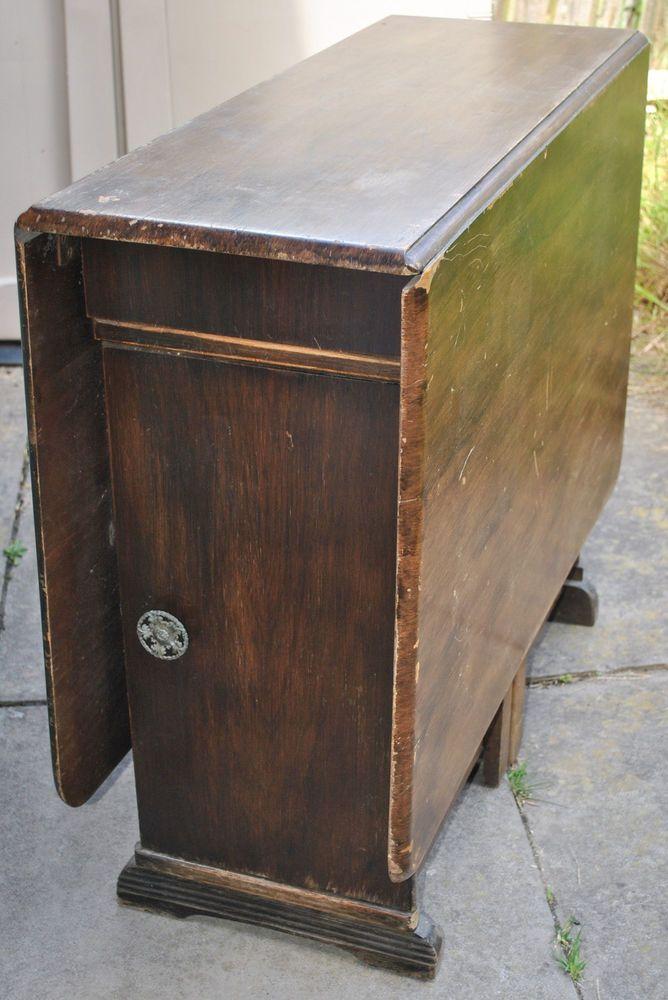 Vintage Dark Wood Gate Leg Drop Leaf Dining Table With Storage Cupboards U0026  Draws