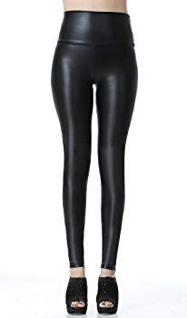 b2590bfd4501a6 Everbellus Sexy Womens Faux Leather High Waisted Leggings Black Small at Amazon  Women's Clothing store:
