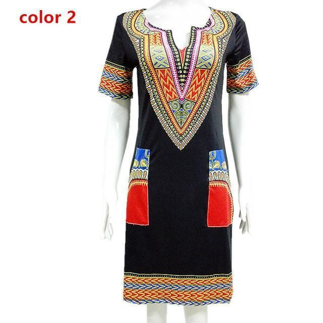 146325fd264fd Dashiki dress Summer Sexy African Print Shirt Dresses Femme Vintage Mini  hippie Plus Size Boho Women Casual Clothing