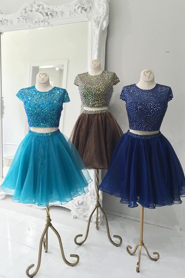 7c2cb6a7f51 Two-Piece Scoop Beading Short Blue Brown Royal Blue Organza Homecoming Dress   veenrol two piece homecoming dresses