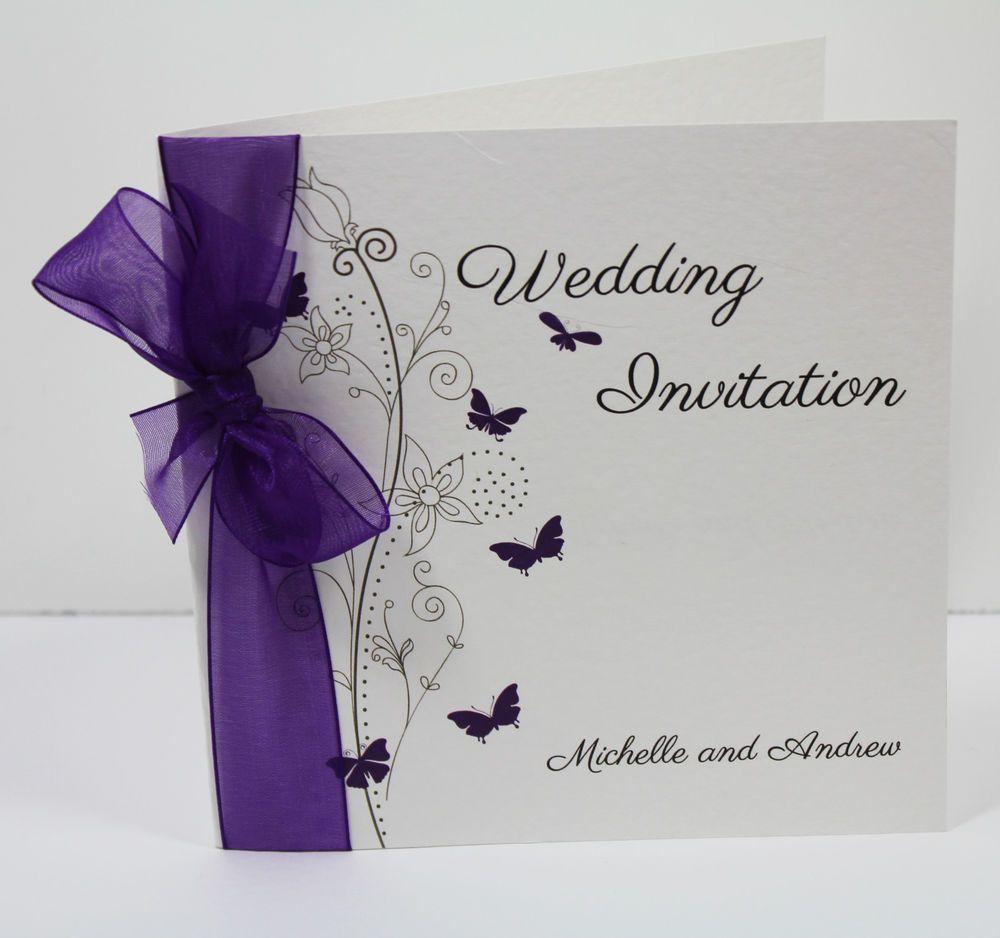 Butterfly Wedding Invitations handmade personalised sidefold PREMIUM ...