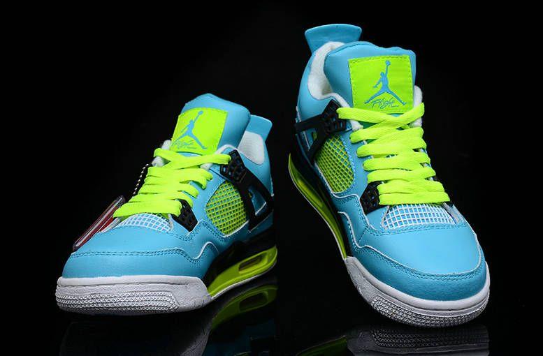 watch 90d46 9e1a2 Air Jordan 4 White Chlorine Blue Volt Black White New Jordans Shoes 2013   Blue  Womens  Sneakers