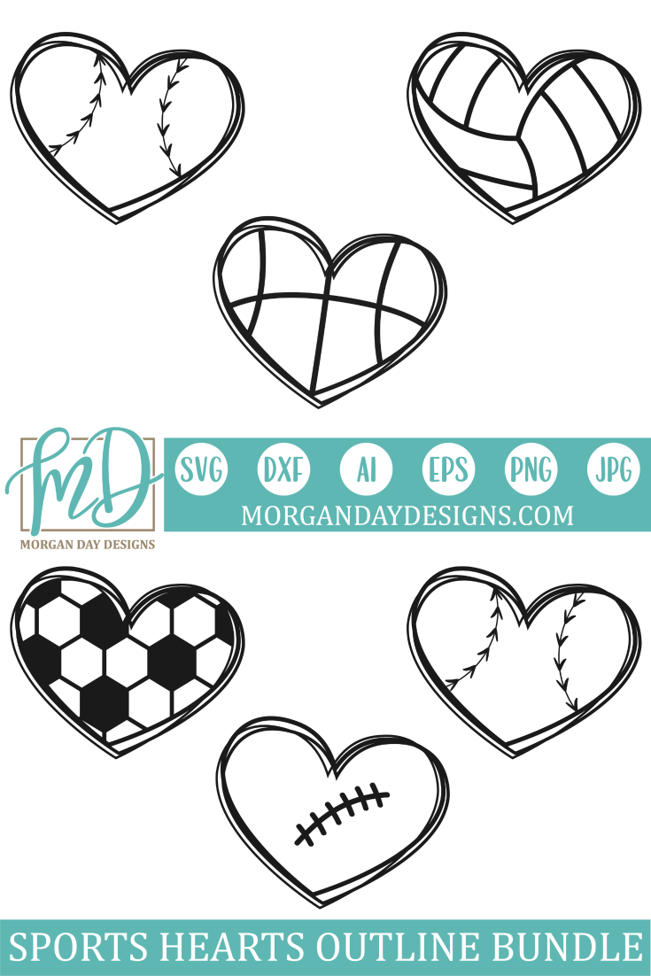 Sports Hearts Outline SVG Bundle Heart outline, Outline
