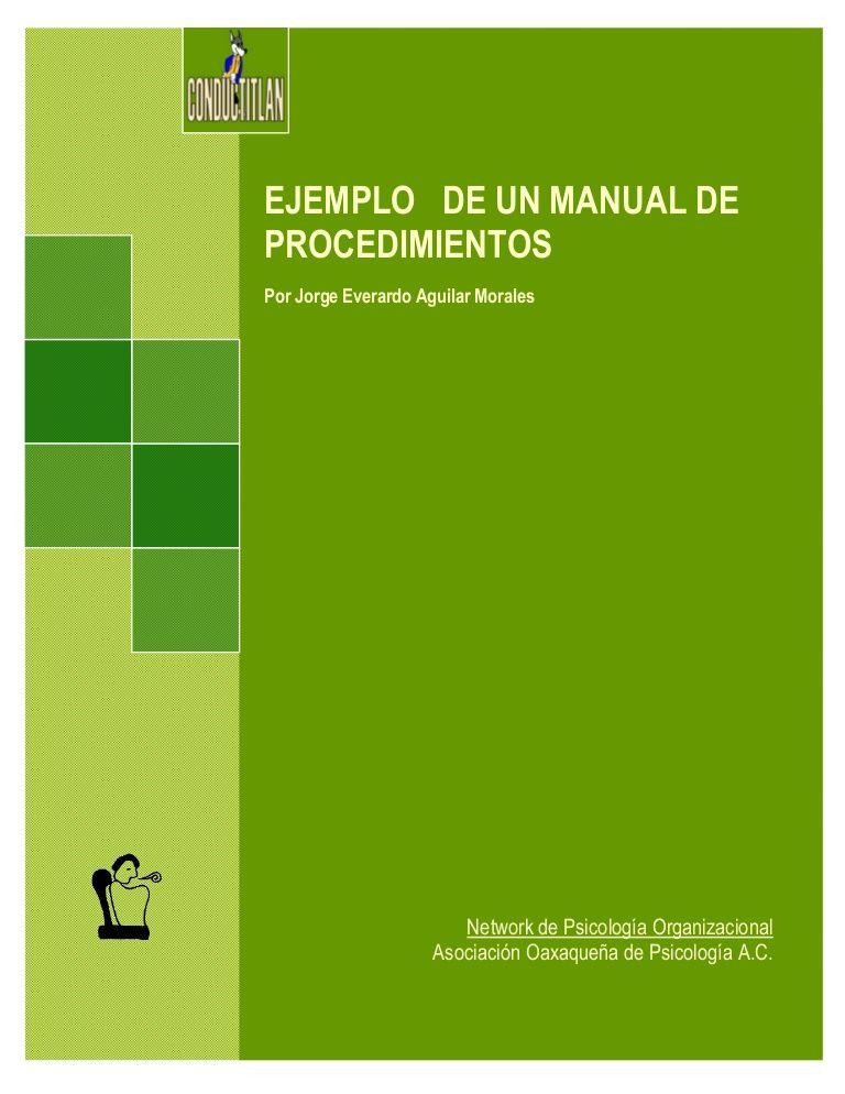 Ejemplo de manual de procedimientos | Manuales Administrativos ...