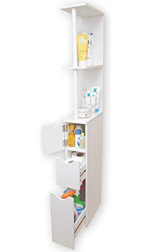 Bathroom Storage Tower Tall Slim Space Saver Cabinet Organizer
