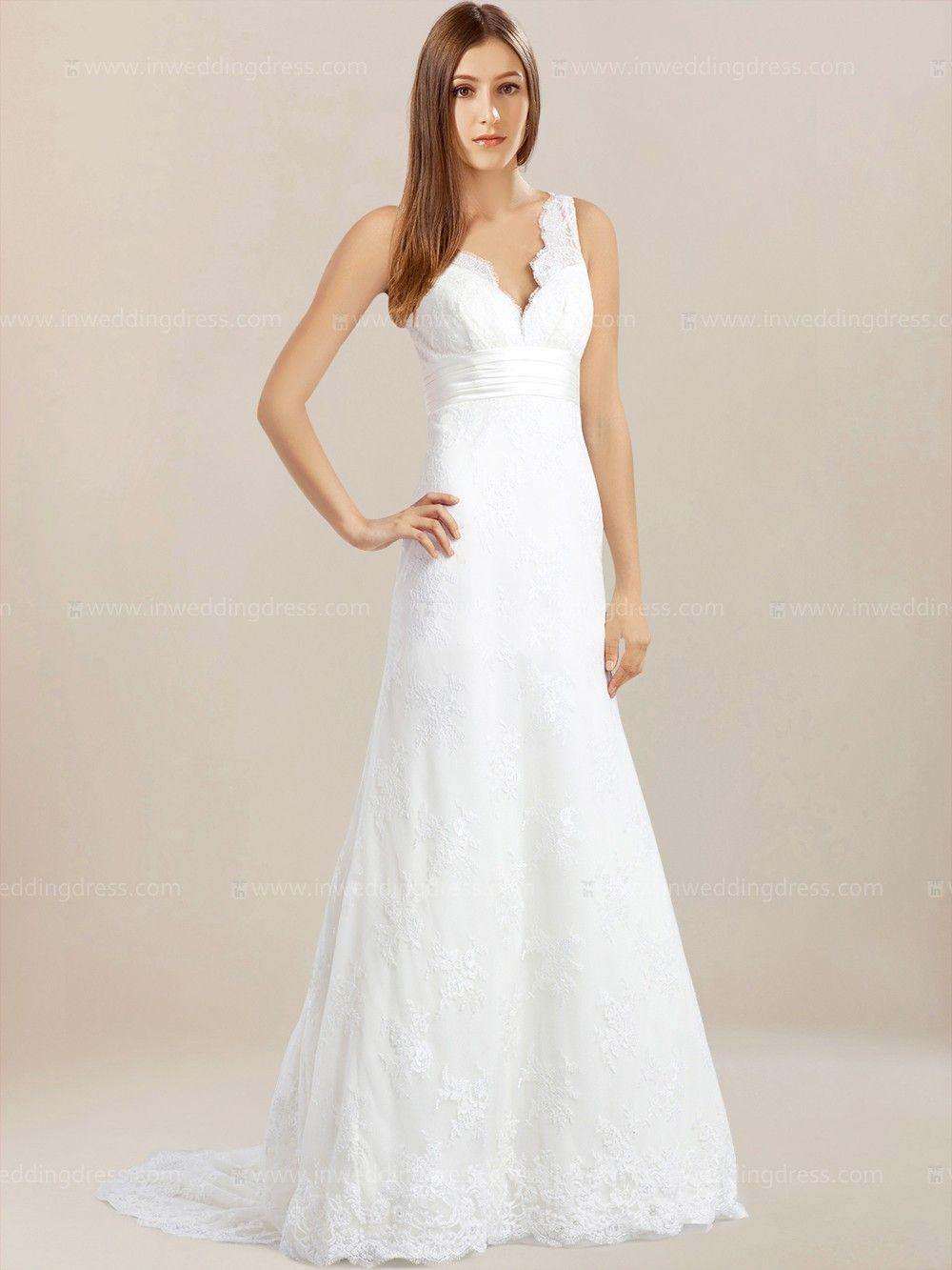 Lace V Neck Wedding Dress With Pleated Sash BC332