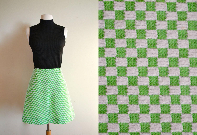 d3ba7b9cd Vintage Lime Green Checkered Skater Skirt, Retro A Line Skirt, 60s High  Waisted Mini Skirt by JoyDestroyVintage on Etsy #skaterskirt #vintageskirt  ...