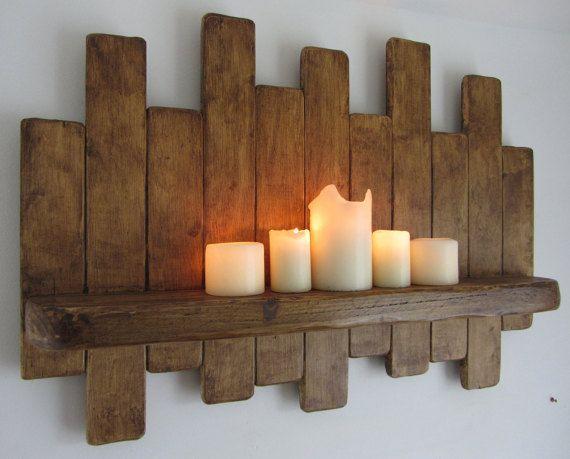 Large 77cm Reclaimed Pallet Wood Floating Shelf Rack Led