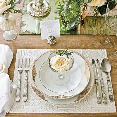 Dinner Party Elegant Table Settings Vintage Champagne