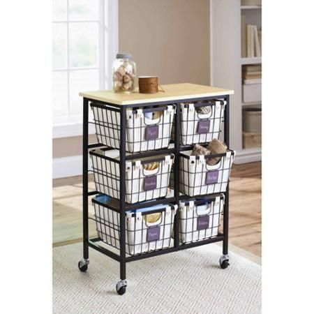 Better Homes and Gardens 6-Drawer Wire Cart, Black - Walmart.com ...