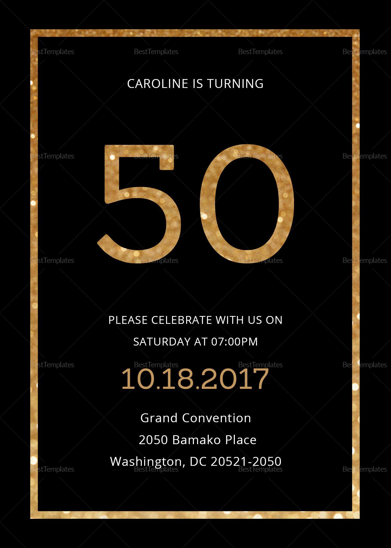 Black And Gold Invitation Template Elegant Black And Gold 50th Birthday Inv Party Invite Template Birthday Party Invitation Templates 50th Birthday Invitations