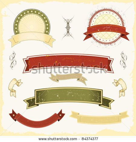 """benchart's """"Graphic Vintage Banners And Ribbons"""" set on Shutterstock"""