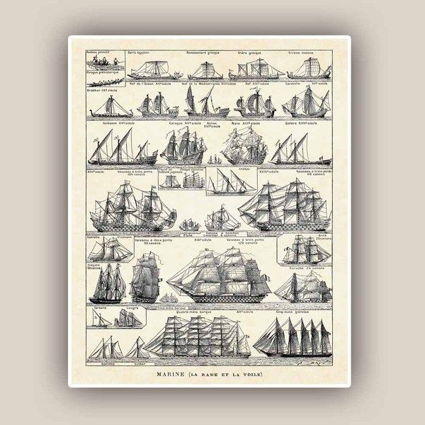 Nautical Print, Vintage sail and row boat Print